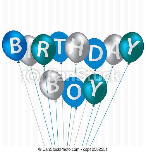 happy birthday birthday boy blue balloon card in vector format