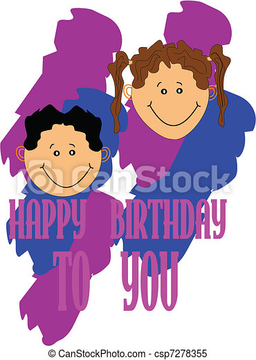 happy birthday birthday message from kids to friends and rh canstockphoto com  happy birthday clip art for friends