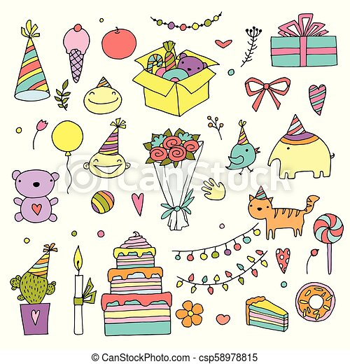 Happy birthday color doodle set. Hand drawn vector illustration. Birth day home holiday. On white background for your web design. - csp58978815