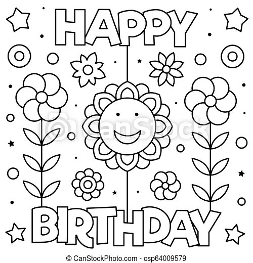Happy birthday. coloring page. black and white vector ...