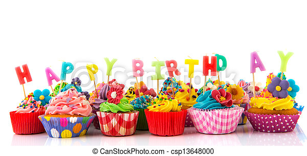 Happy birthday cupcakes - csp13648000