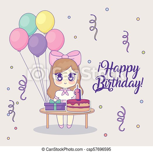 Happy Birthday Design With Kawaii Anime Girl With Table With Cakes And Gift Boxes Over Background Colorful Design Vector Canstock