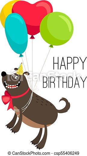 Happy Birthday Dog Card Cartoon Birthday Holiday Poster With Cute