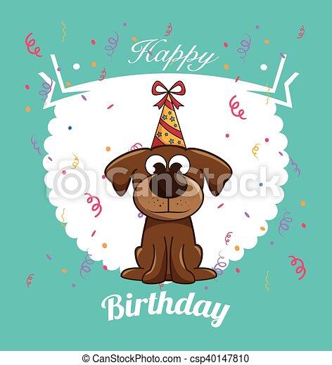Happy Birthday Dog Cute Design Vector Illustration Eps 10