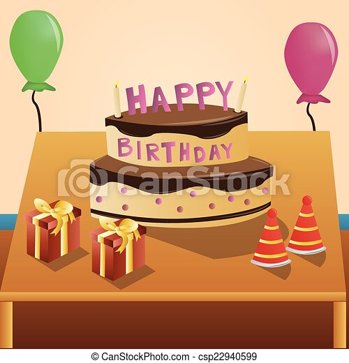 Happy Birthday A Table With Cake Presents And