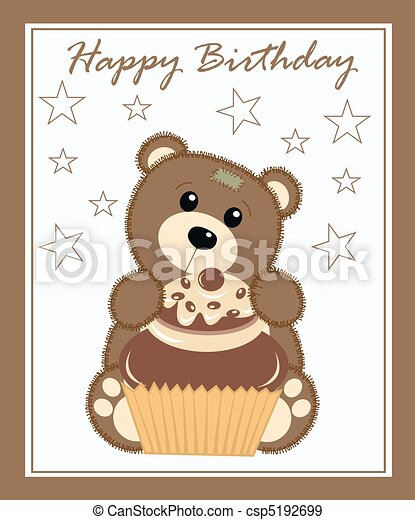 Happy Birthday Birthday Card With A Cute Bear Holding A Cupcake
