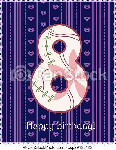 Happy birthday eight card - csp29425422