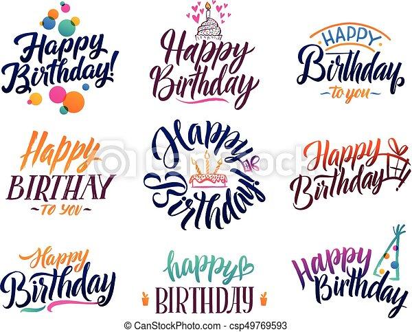 Happy Birthday Elegant Brush Script Text Vector Type With Hand