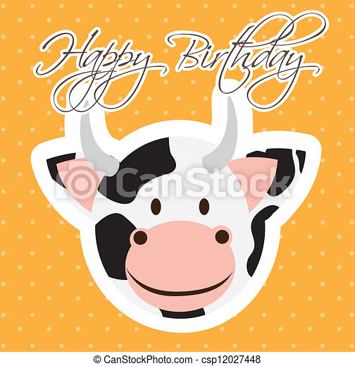 Happy Birthday Bappy Birthday Card With Cow Cartoon Vector