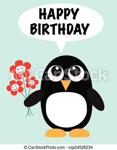 happy birthday a lovely penguin with flowers