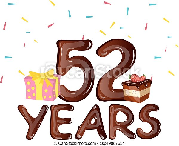 happy birthday fifty two 52 year greeting card vector illustration