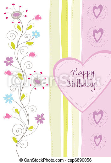 Happy birthday floral greeting card vector illustration clip art happy birthday floral greeting card csp6890056 m4hsunfo Images