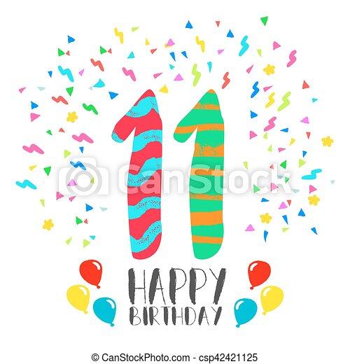 Happy Birthday For 11 Year Party Invitation Card Happy