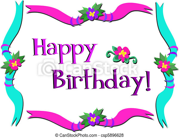 Happy Birthday Frame With Flowers Here Is A Colorful Framed