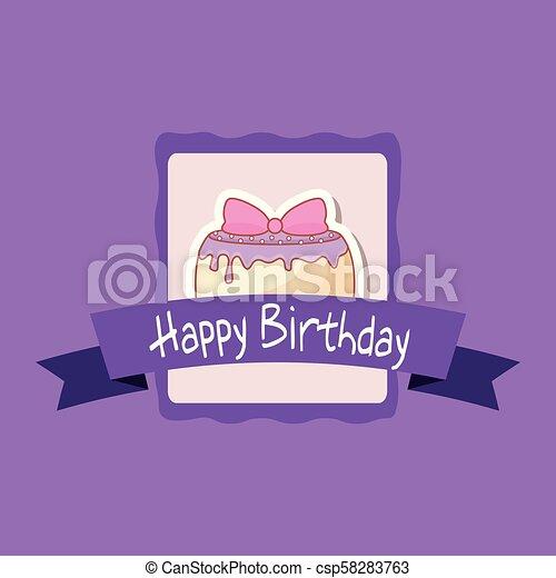 happy birthday frame with sweet cake - csp58283763
