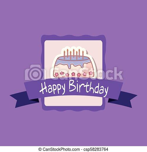 happy birthday frame with sweet cake - csp58283764