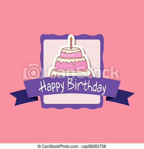 happy birthday frame with sweet cake - csp58283758