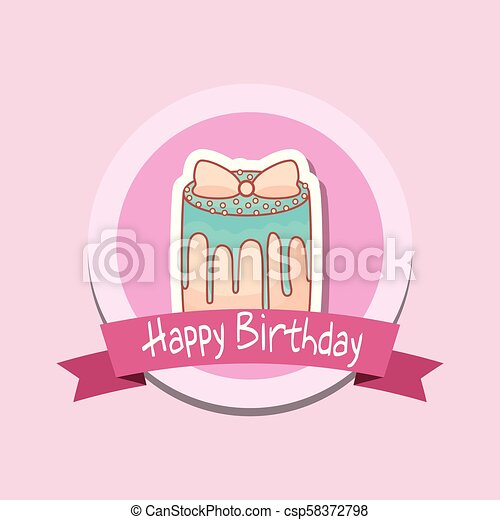 happy birthday frame with sweet cake - csp58372798