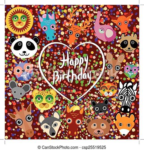 Happy Birthday Funny Cute Animal Face On A Brown Background Happy Birthday Funny Cute Animal Face On A Brown Background Canstock