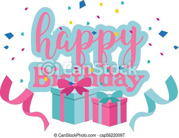 Happy Birthday Gift Box Ribbon Background Vector Image