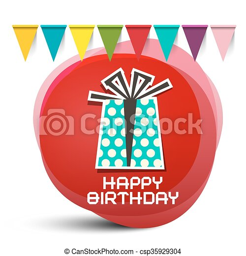 Happy Birthday Gift Box with Flags on Red Circle Abstract Background - csp35929304