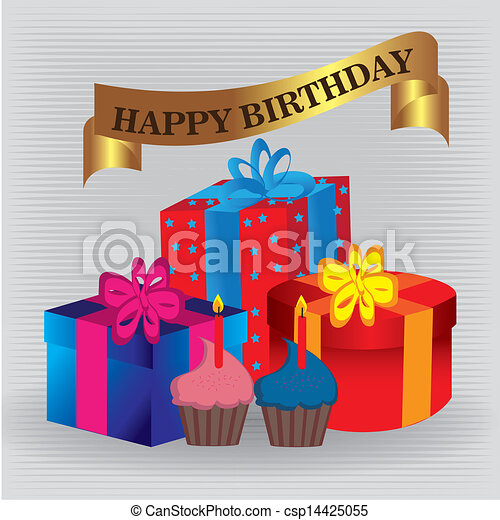 Happy Birthday Gifts Happy Birthdat Gifts Over Gray