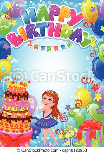 Happy birthday girl card with place for text - csp40120953