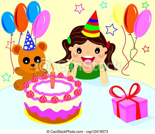 Happy Birthday Girls Happy Little Girl Celebrating Her Birthday