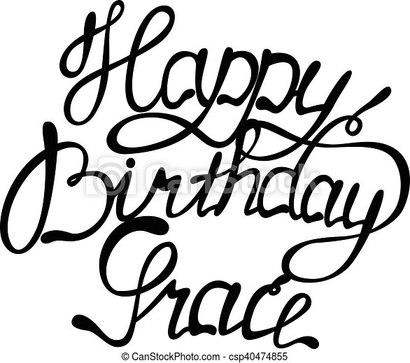 vector happy birthday grace lettering clipart vector search rh canstockphoto com amazing grace free clip art