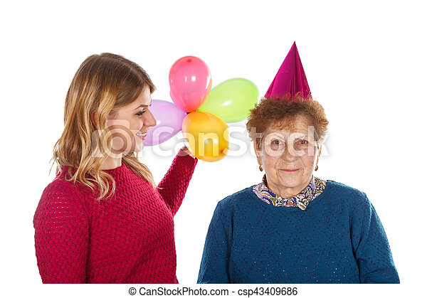 Happy Birthday Grandma Picture Of An Eldery Woman Celebrating