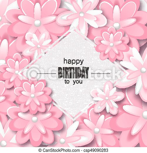 happy birthday greeting card and party invitation template with beautiful flowers vector - Happy Birthday Cards Flowers