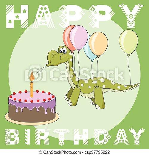 Happy Birthday Greeting Card Cake Balloons Dino