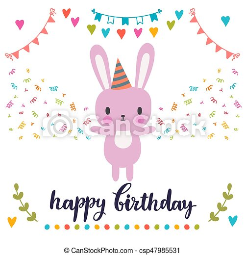 Happy Birthday Greeting Card Cute Postcard With Funny Little Bunny
