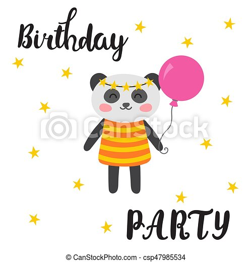 Happy Birthday Greeting Card Cute Postcard With Funny Little Panda Cartoon Animals