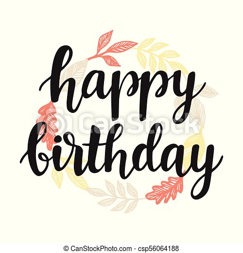 Happy birthday greeting card design template with cute autumn leaves happy birthday greeting card design template csp56064188 m4hsunfo