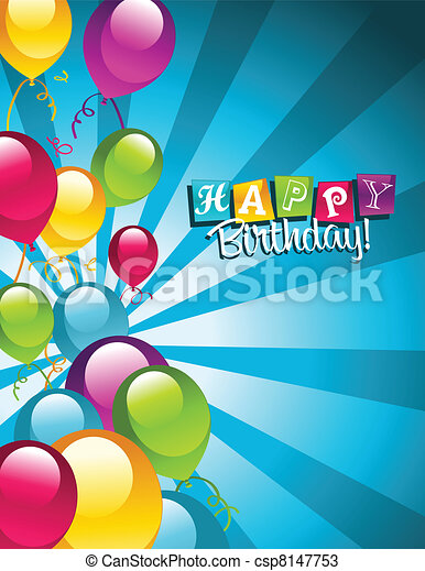 Happy Birthday Greeting Card Colorful Birthday Card With Party
