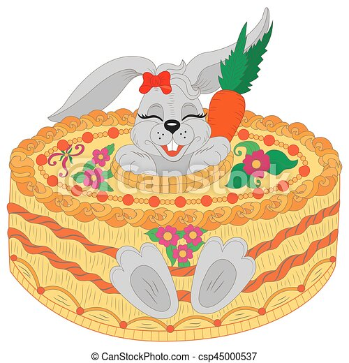 Happy Birthday Greeting Card Cute Rabbit With Cake Cartoon