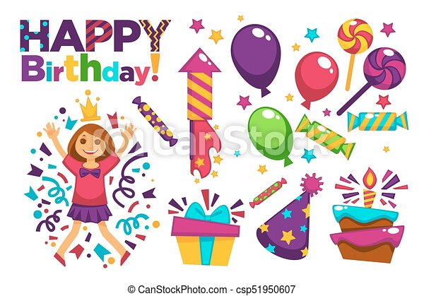 Happy Birthday Greeting Card Or Postcard Gift Template Design