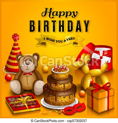 Happy Birthday Greeting Card Pile Of Colorful Wrapped Gift Boxes Lots Presents And Toys Party Hats Teddy Bear Cake Dog Balloon Box Chocolates