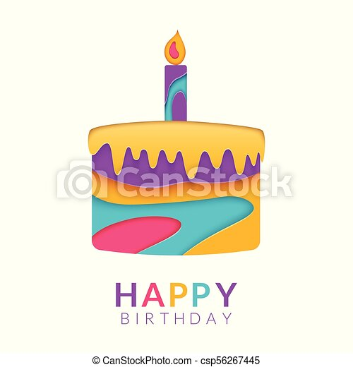 Happy Birthday Greeting Card Template With Papercut Multi Color Cake