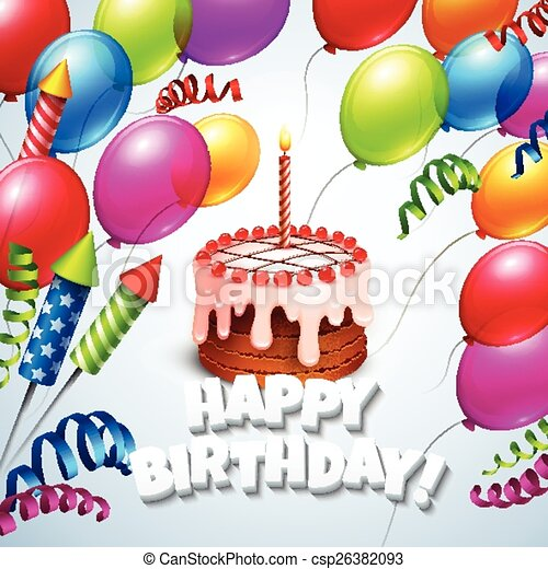 Astounding Happy Birthday Greeting Card With Cake And Balloons Vector Funny Birthday Cards Online Fluifree Goldxyz