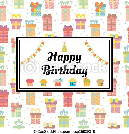 Happy birthday greeting card with gift boxes and cupcakes vector happy birthday greeting card with gift boxes and cupcakes cute birthday background csp35839318 m4hsunfo