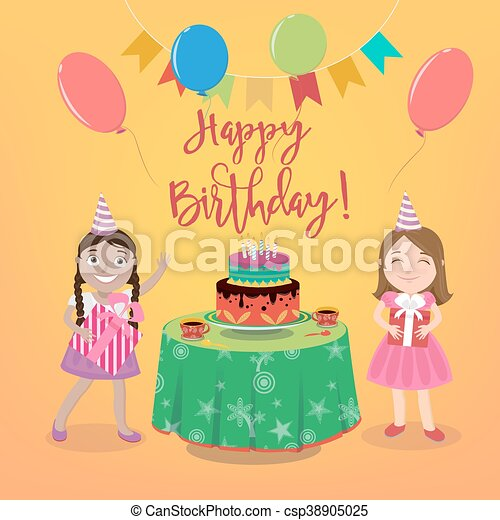 Happy Birthday Greeting Card With Girls And Cake Vector Illustration