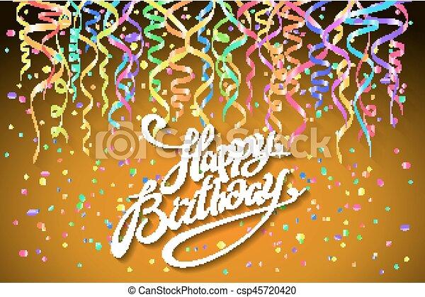 Happy Birthday Design Vector ~ Happy birthday greeting card with confetti on orange vector