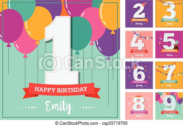 Happy Birthday greeting card with balloons - csp33719700