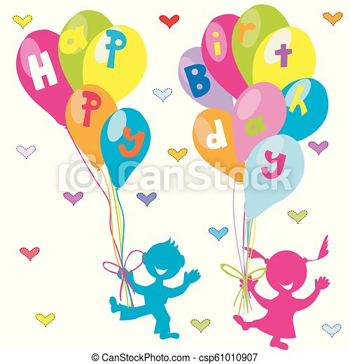 Happy birthday greeting card with children and balloons - csp61010907