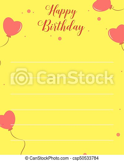 Happy Birthday Greeting Card With Yellow Background Vector Art