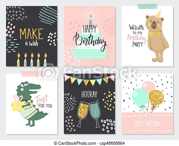Happy Birthday Greeting Cards And Party Invitation Templates Vector Illustration Hand Drawn Style