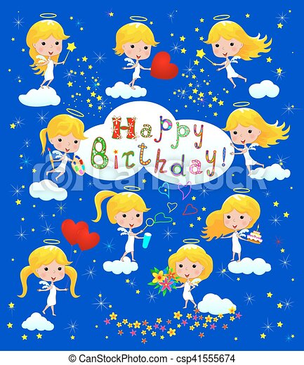 Happy Birthday Greeting Card With Angels Cartoon