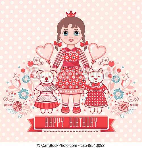Happy Birthday Greetings Card For Girl Illustration Of Cute